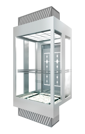 What is the layout of the machine room-less elevator?