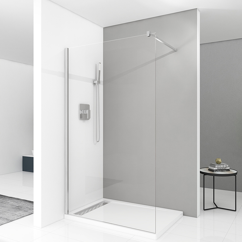 What is the cleaning method of the shower enclosure glass?