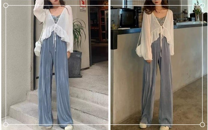 Camisole and wide-leg pants and chiffon long-sleeved cardigan