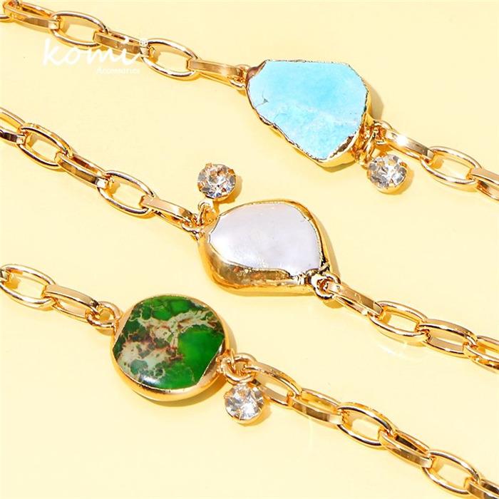 Turquoises Pearl Gold Charm Bracelet