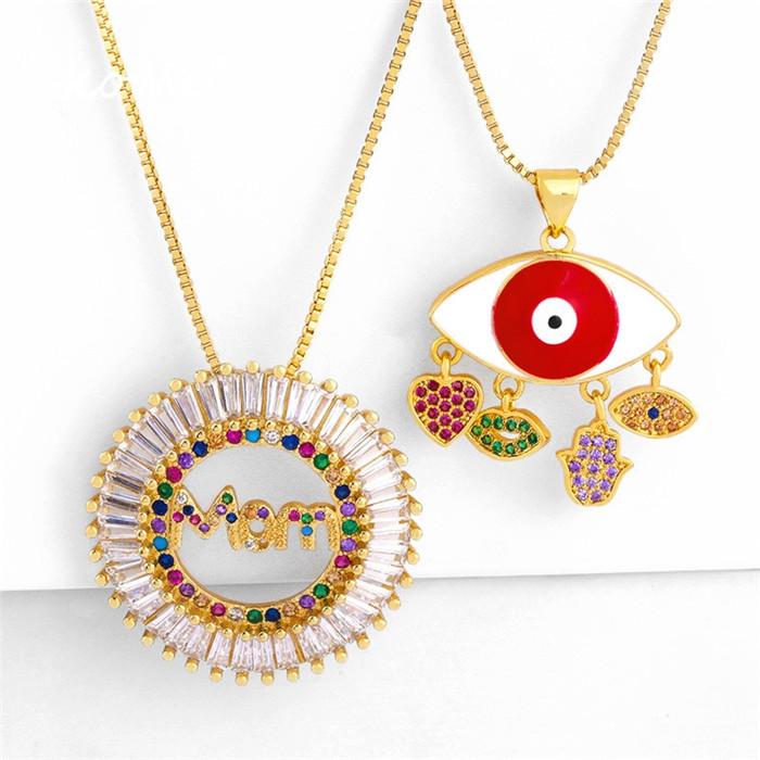 Drip Oil Inlaid Pendant Necklace