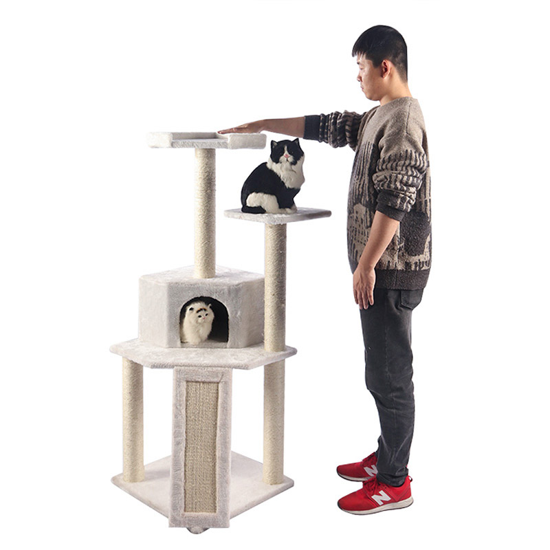 White multi-tiered cat climbing frame pet supplies