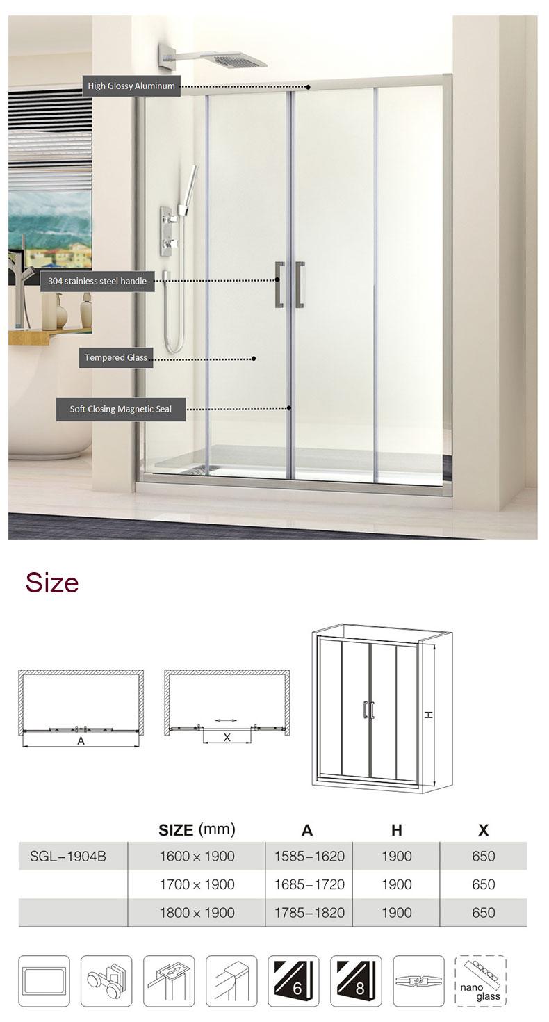 custom shower doors 1600x1900mm