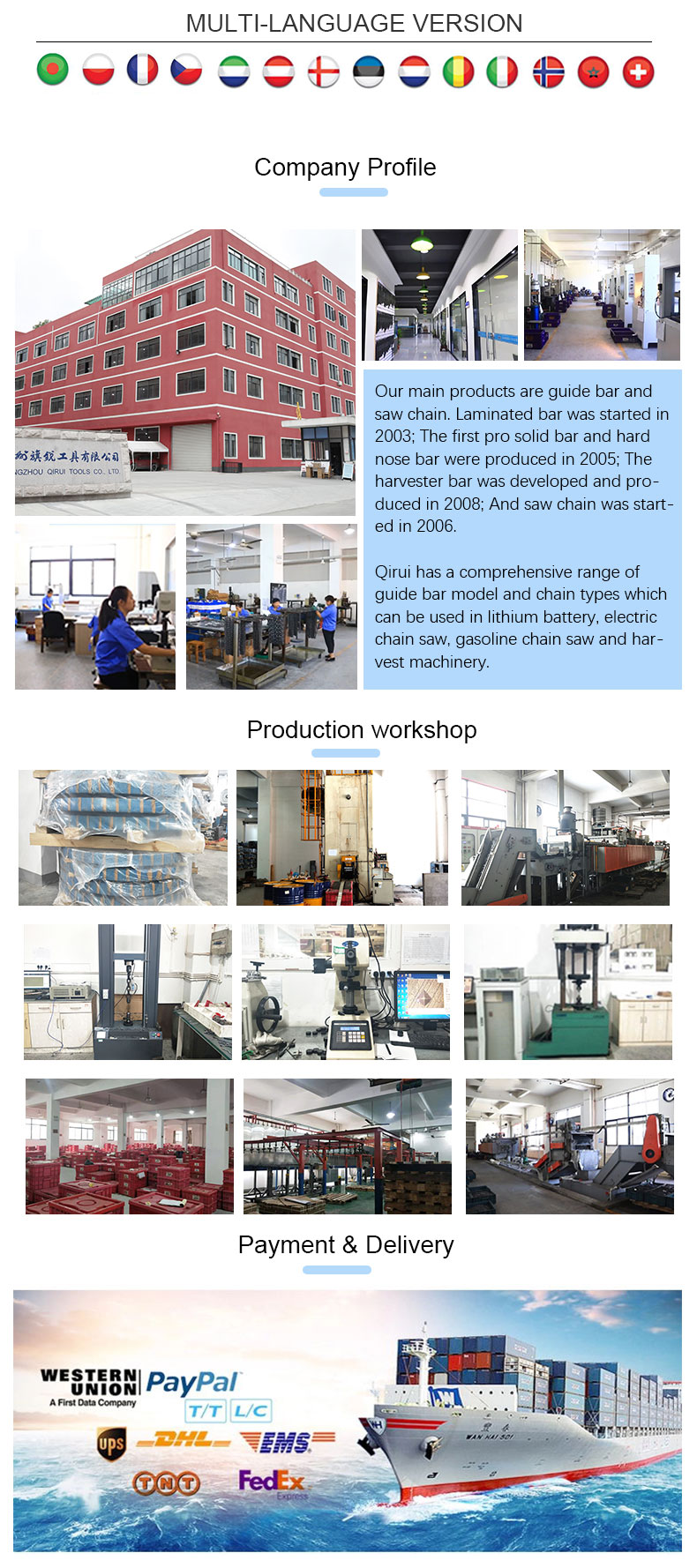 Chinese guide bar Supplier