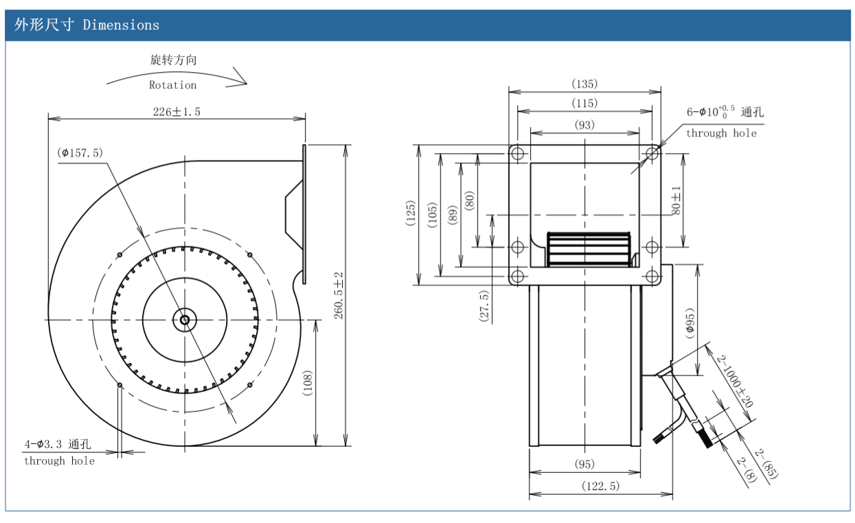 centrifugal fan for dust extraction