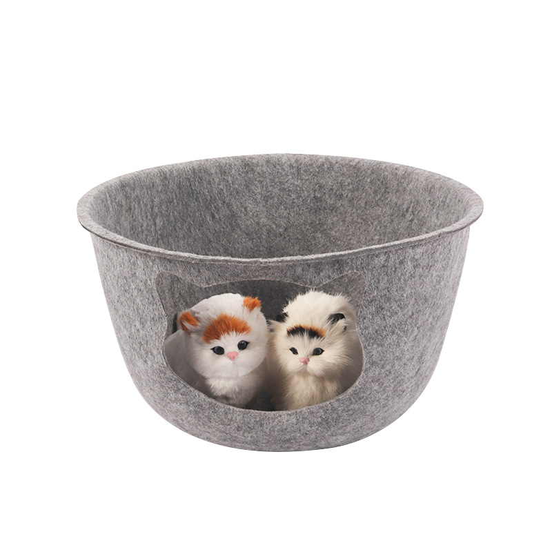 Cat's nest in the shape of a felt bowl