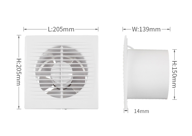 6 Inch Bathroom Wall Mounted Ventilation Louver Axial Exhaust Fan