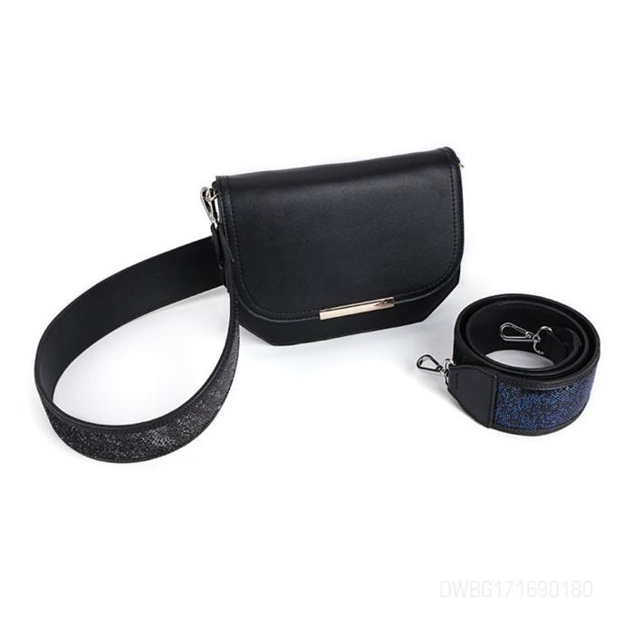 Black Leather Crossbody Single Shoulder Bag