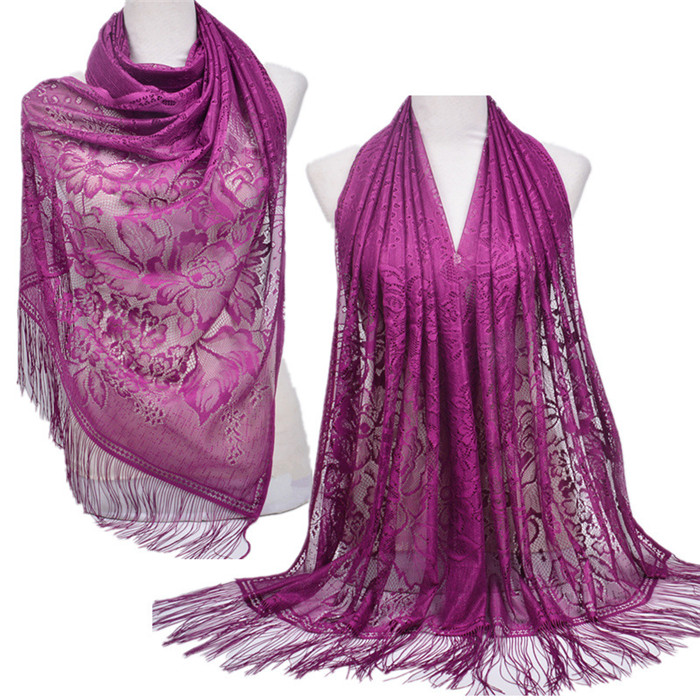 Solid Color Tassel Lace Hollow Long Hijab Shawl