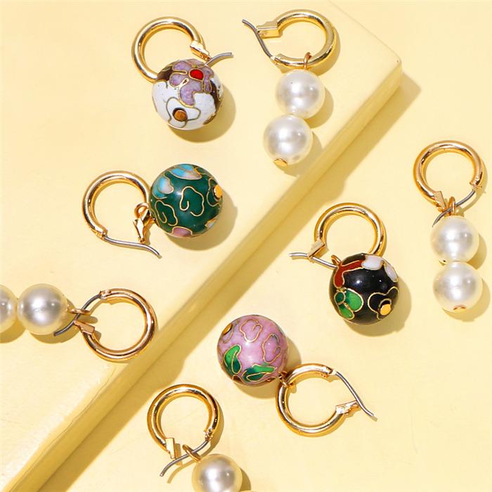 Colorful Flower Beads Pearl Earrings