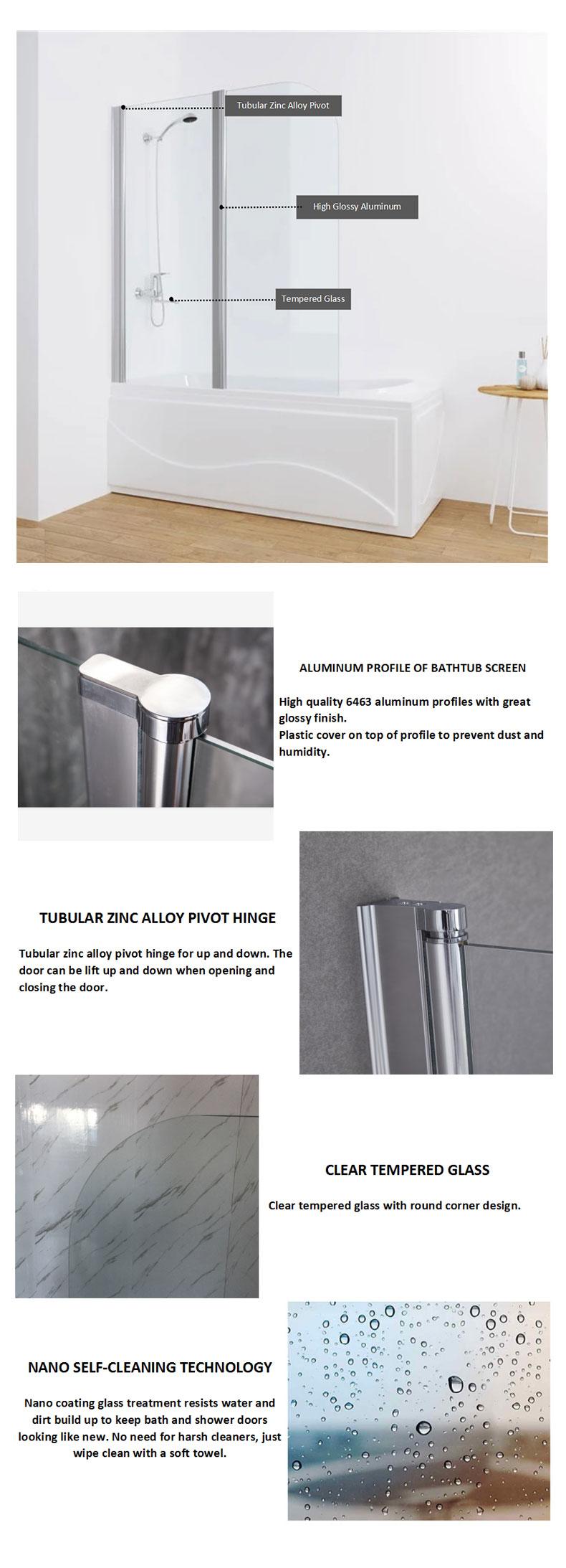 1200x1400mm Swing bathtub screen