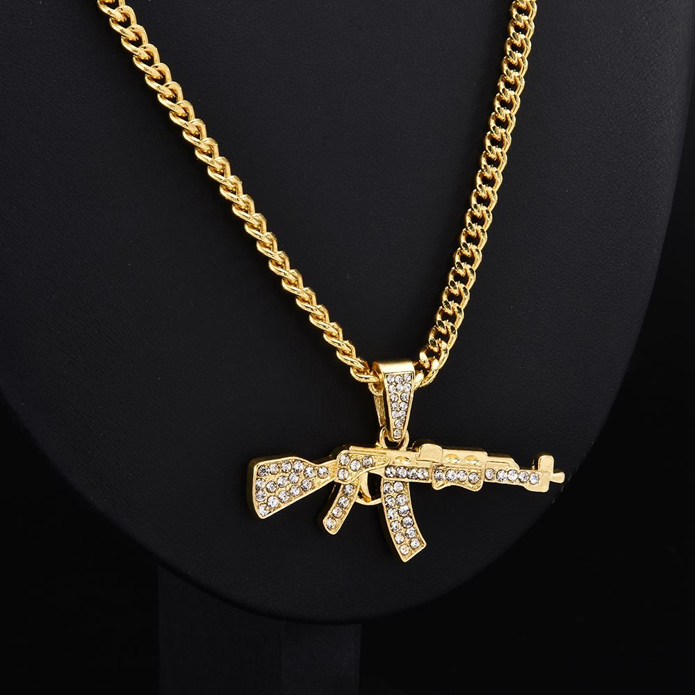 Gun Pendant Crystal Rhinestone Chain Necklace