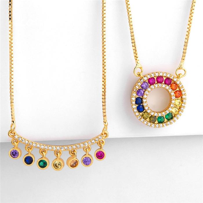 Original Colored Zircon Circle Pendant Necklace