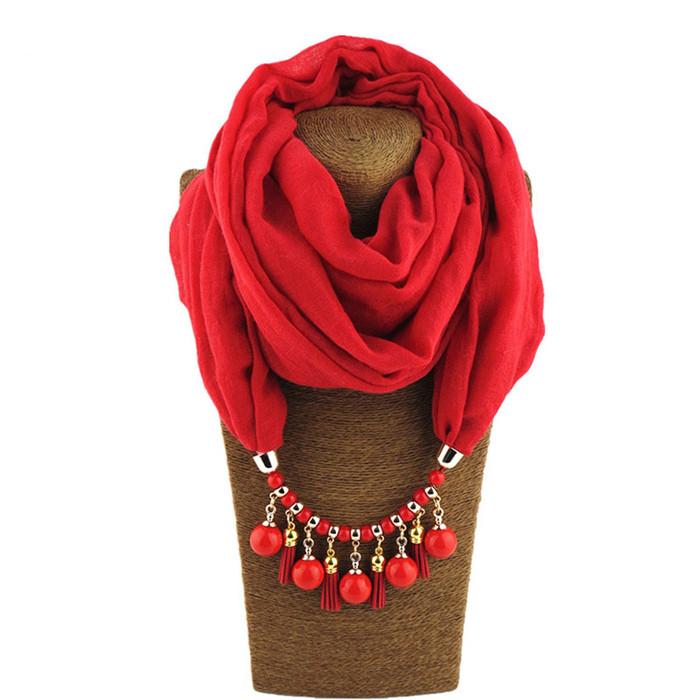 Resin Beads Pendant Scarf