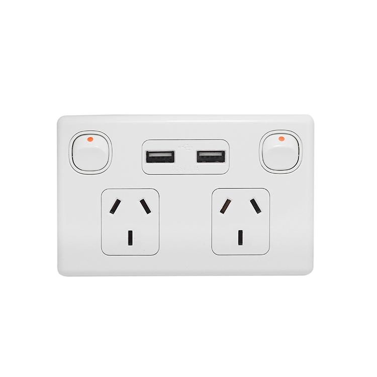 SAA Powerpoint 3 Gang 1 Way Electrical Plug USB Socket Walls Switch