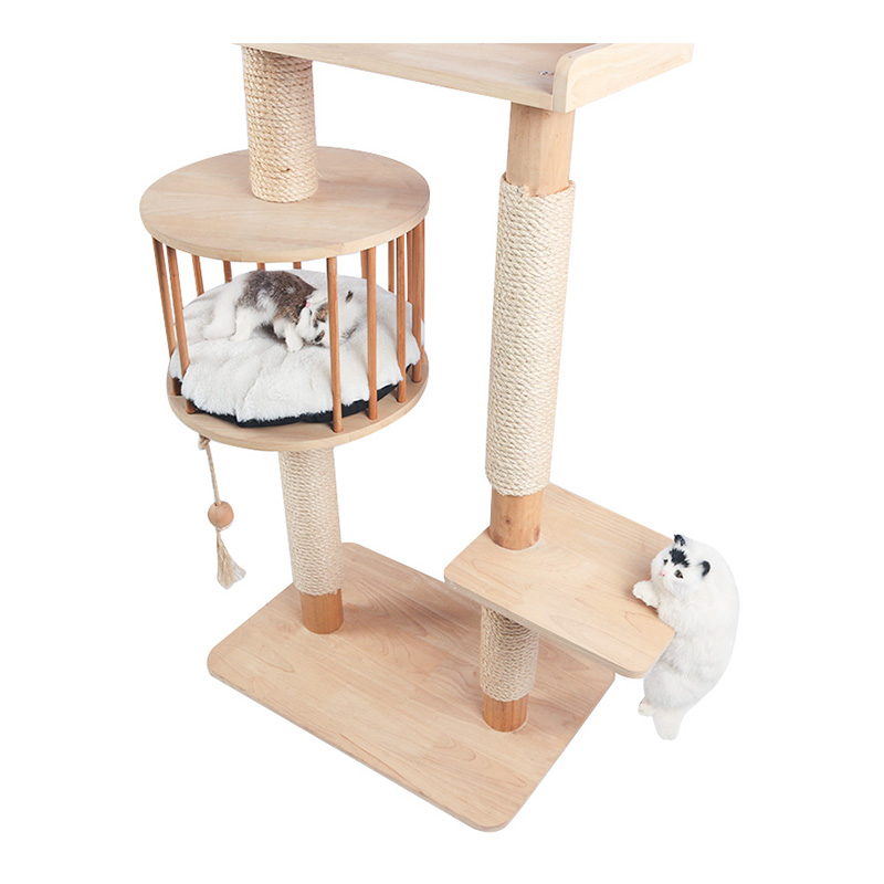 Solid wood multi-storey cat climbing frame with cat nest pet product
