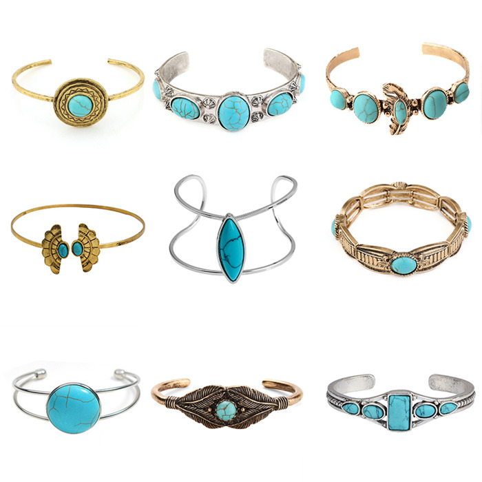 Gold Silver Turquoises Bangles