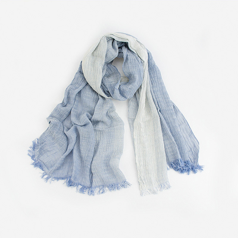 Stripe cotton and linen fold the scarf
