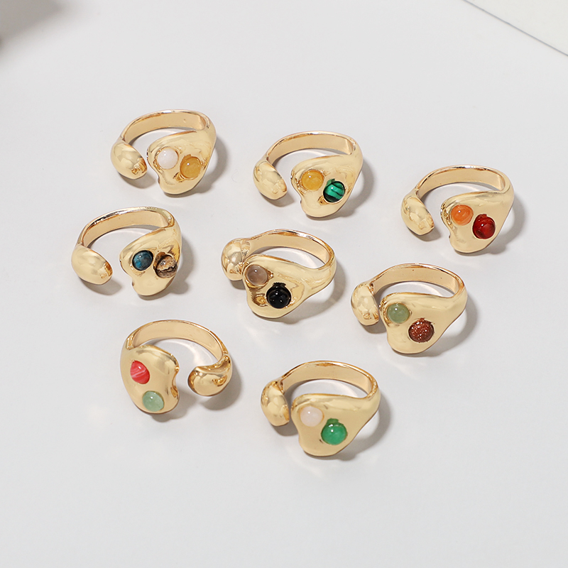 Malachite Stone Adjustable Rings