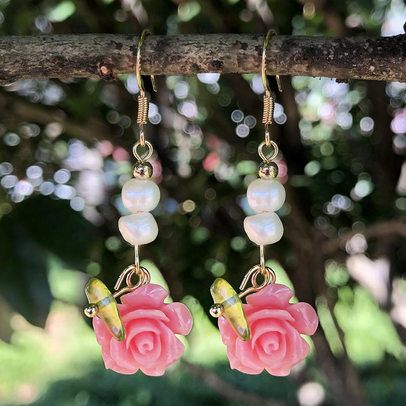 Colorful Flower Pearl Dangle Earrings P
