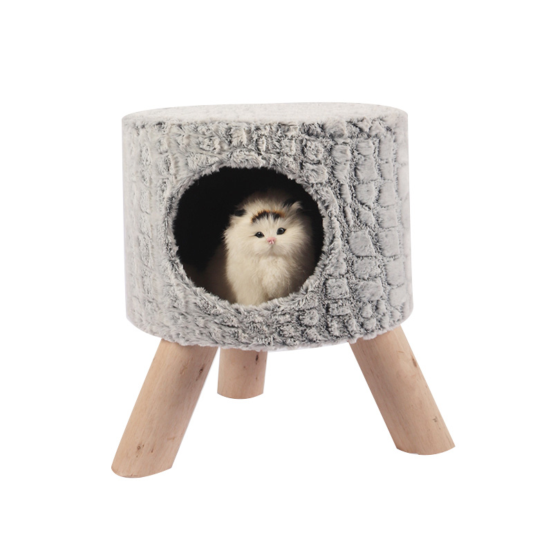 Grey cat nest shoe change stool