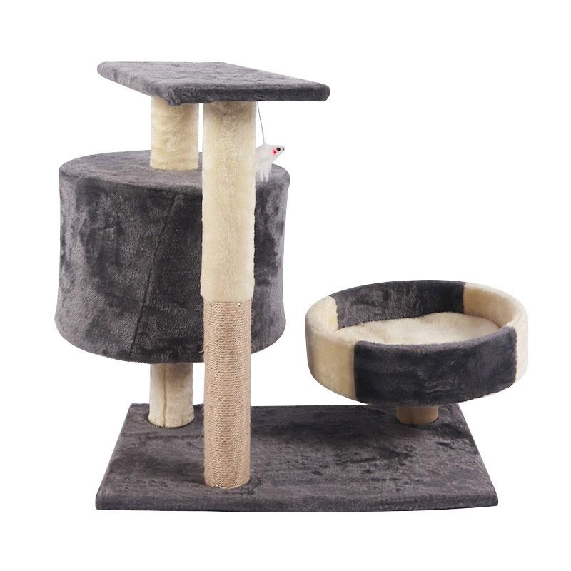Miniature multi-storey cat climbing frame with cat nest