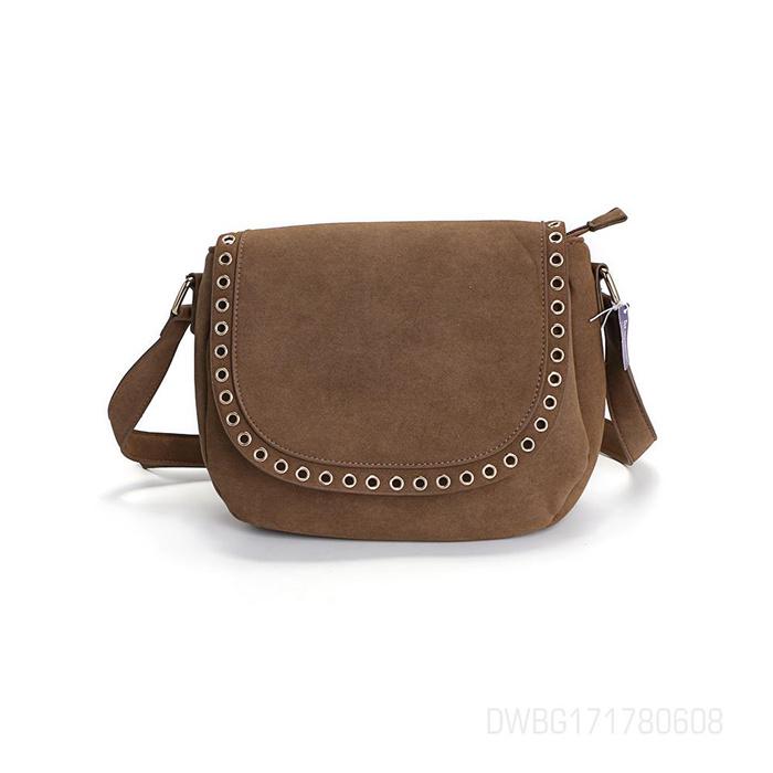Ladies Simple Brown Rivet Single Cross Bag