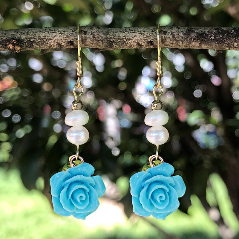 Colorful Flower Pearl Dangle Earrings B