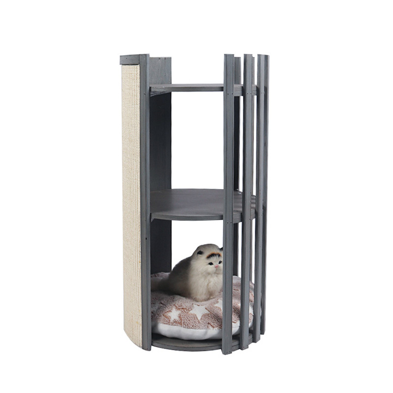Solid wood double deck cat nest with scratch board pet product