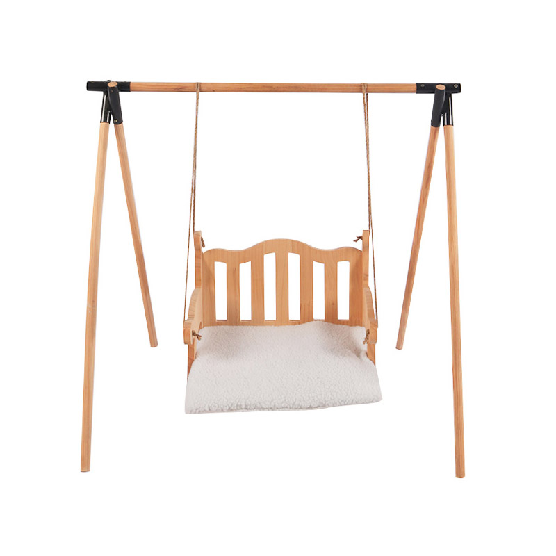 Solid wood cat swing pet product