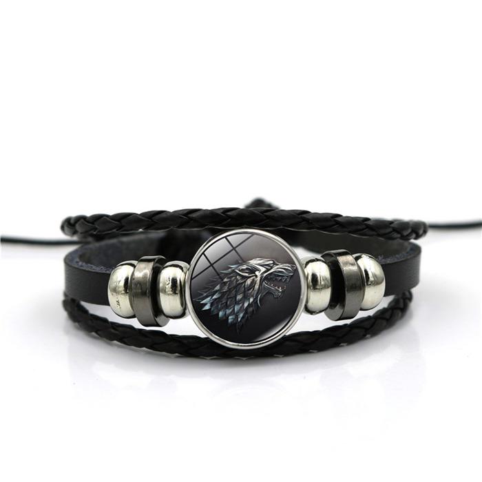 Glass Cabochon Leather Bracelets