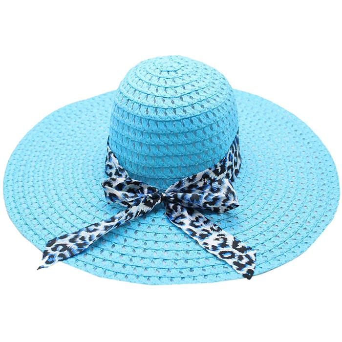 Leopard Print Big Brim Straw Hat
