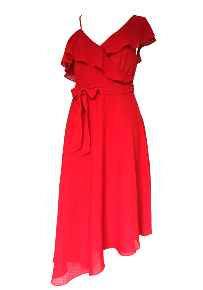 Red ruffle shoulder dress