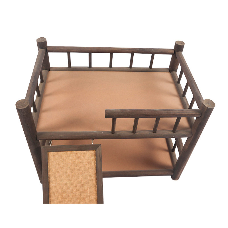 Double deck solid wood cat bed pet supplies