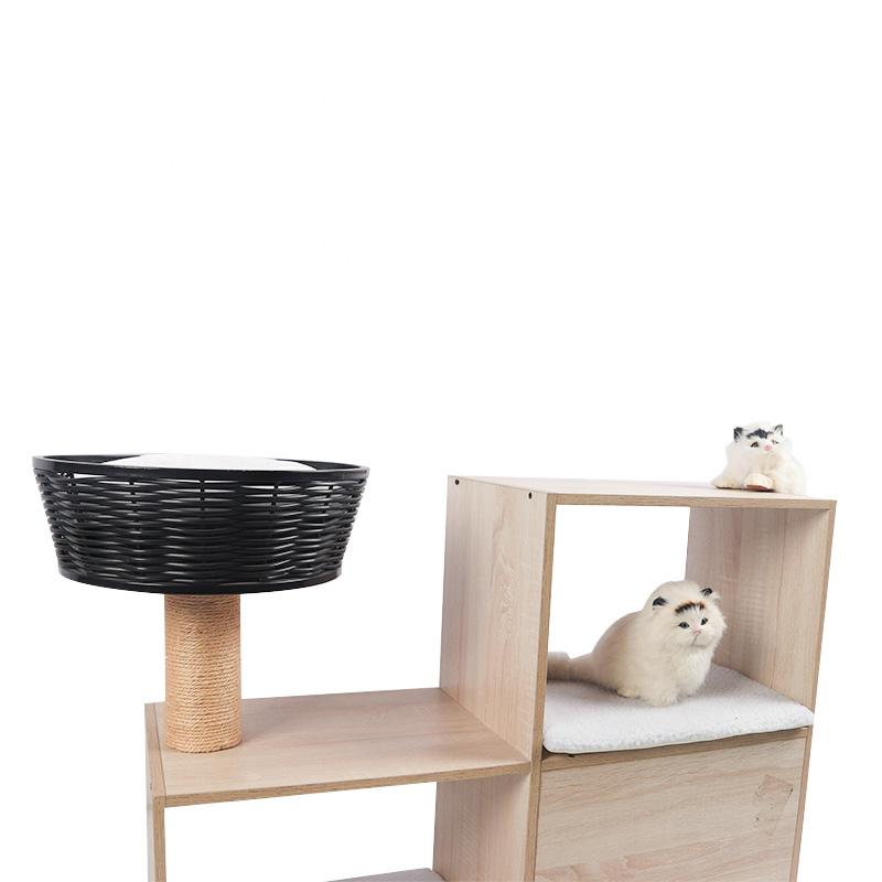 Double - deck cat cabinet with rattan cat nest