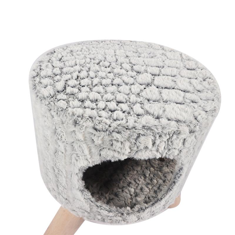 Grey cat nest shoe change stool