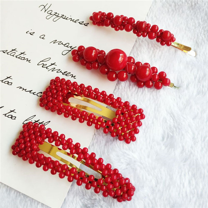 Red Pearl Hair Clip for Women