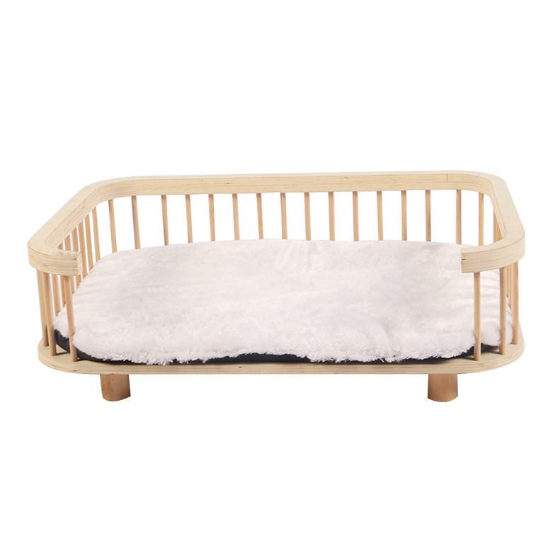 Solid wood cat bed with plush cushions