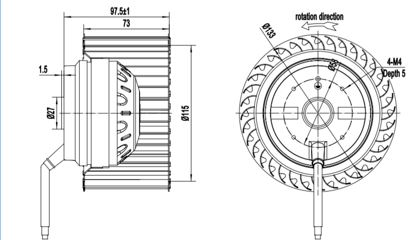 centrifugal fan radial blades
