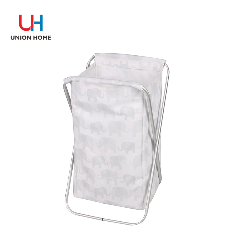 Pu leather handle laundry basket with alumium fram