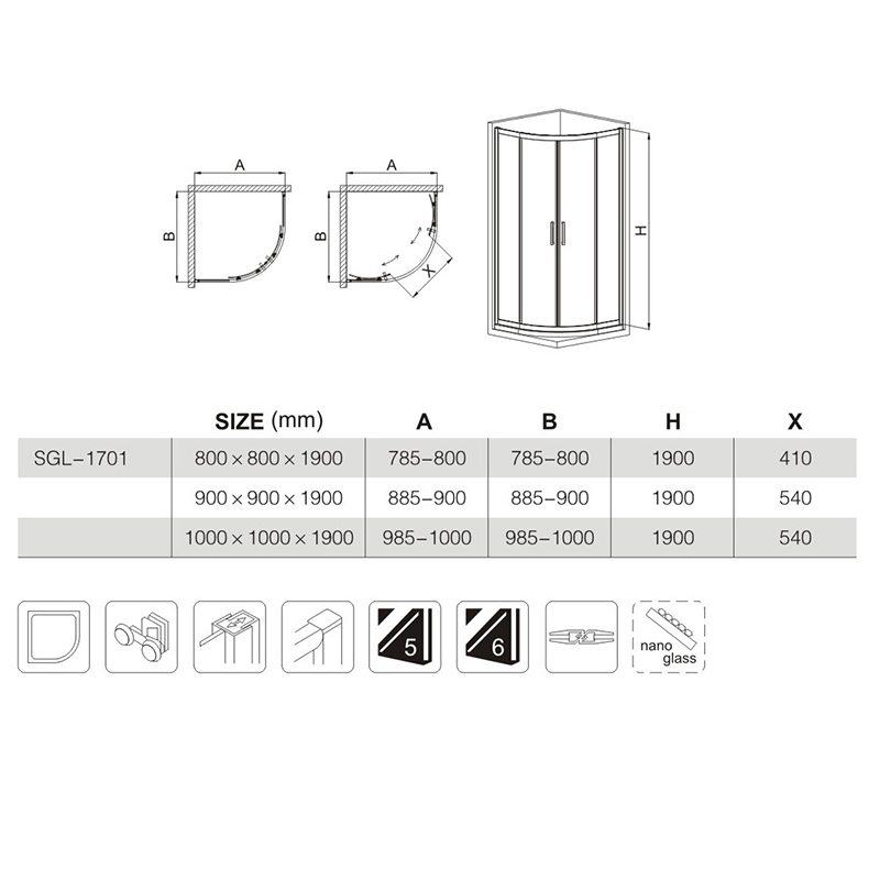black frame shower enclosure