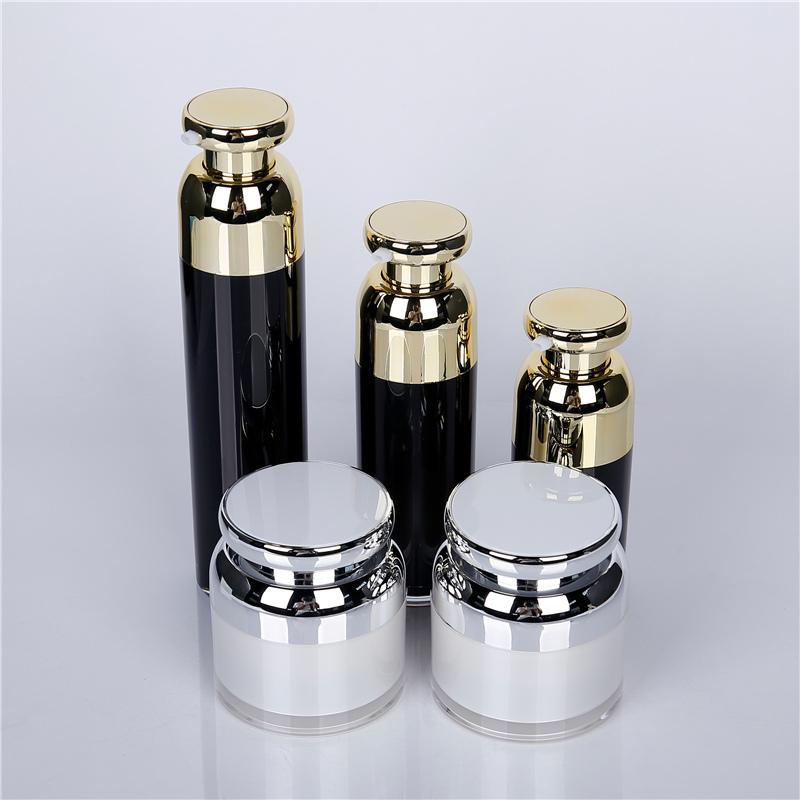 Black acrylic cosmetic bottle