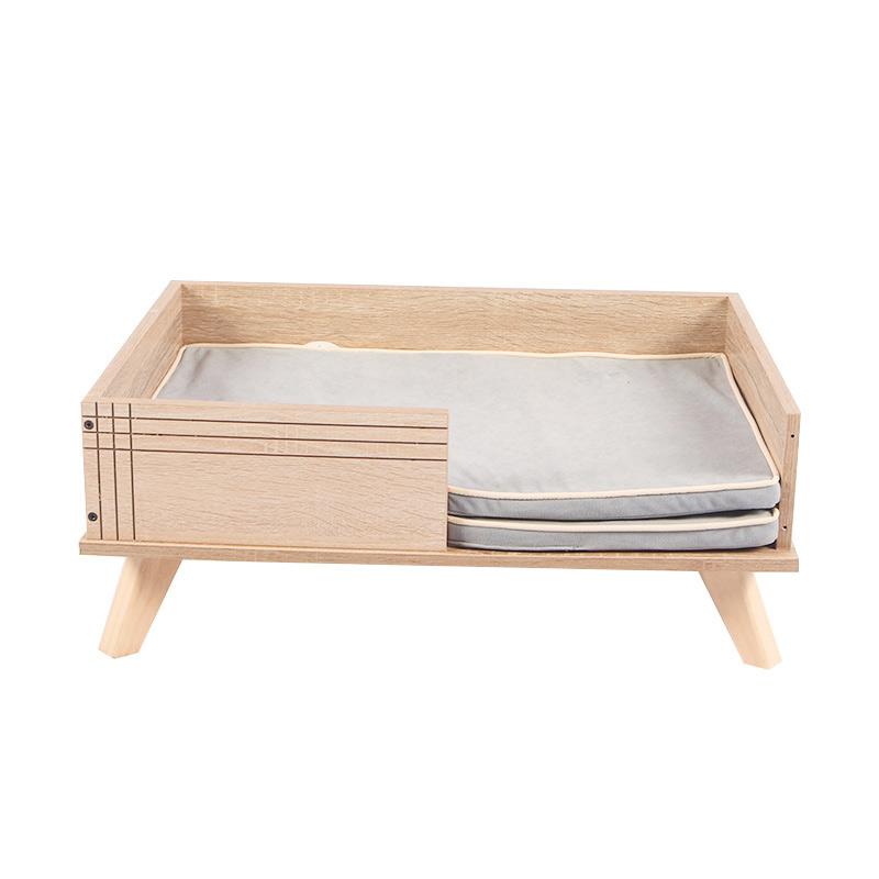 Rectangular solid wood cat bed pet supplies