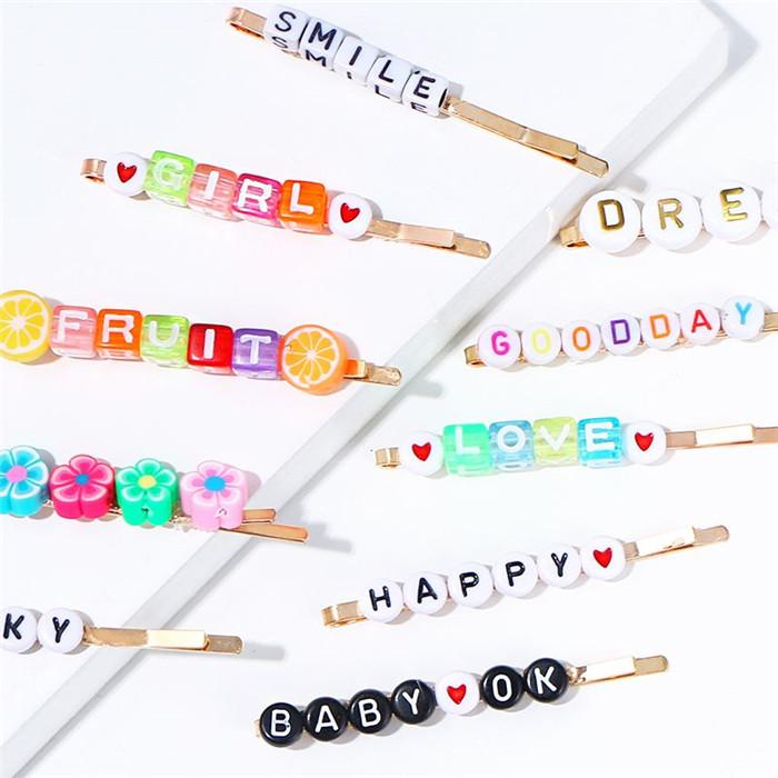 Colorful Fashion Letter Hair Clip