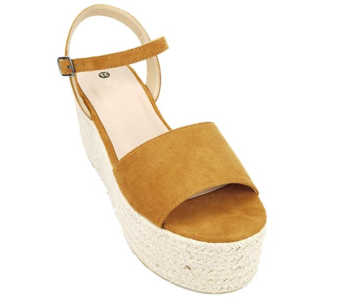 Camel suede espadrilles women sandals