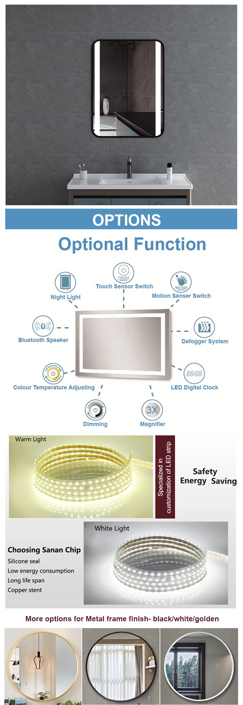 LED wall mounted illuminated mirror with frame