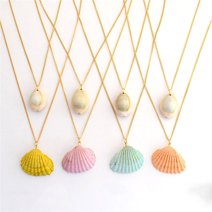 Shell Pearls Collar Pendant Necklace