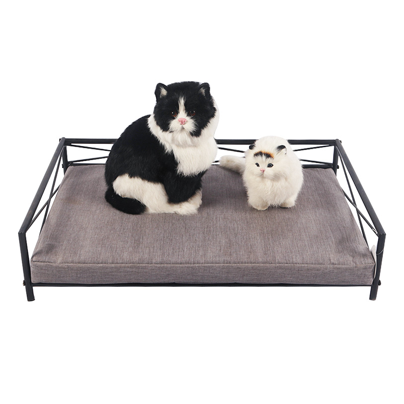 Rectangular metal cat bed