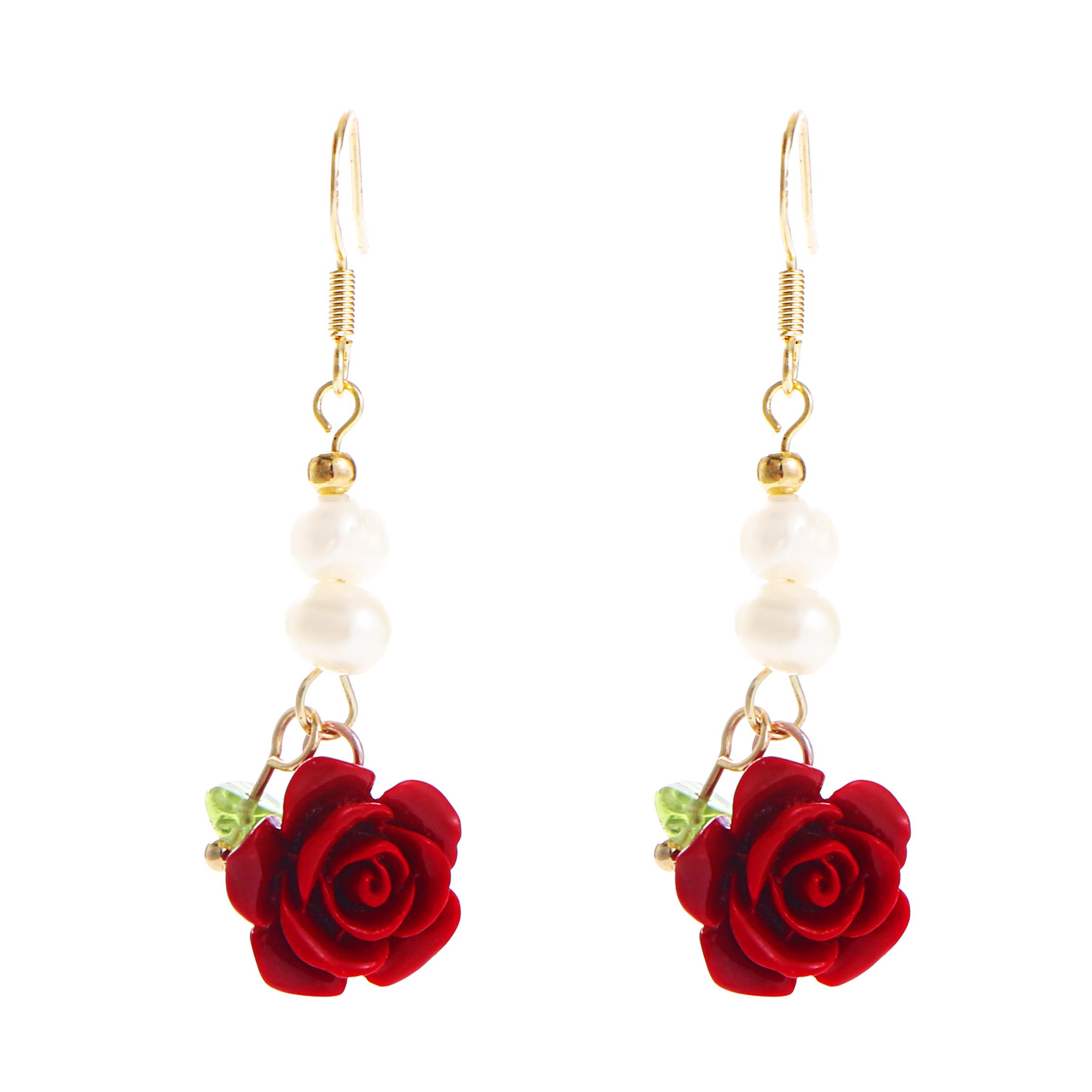 Colorful Flower Pearl Dangle Earrings R