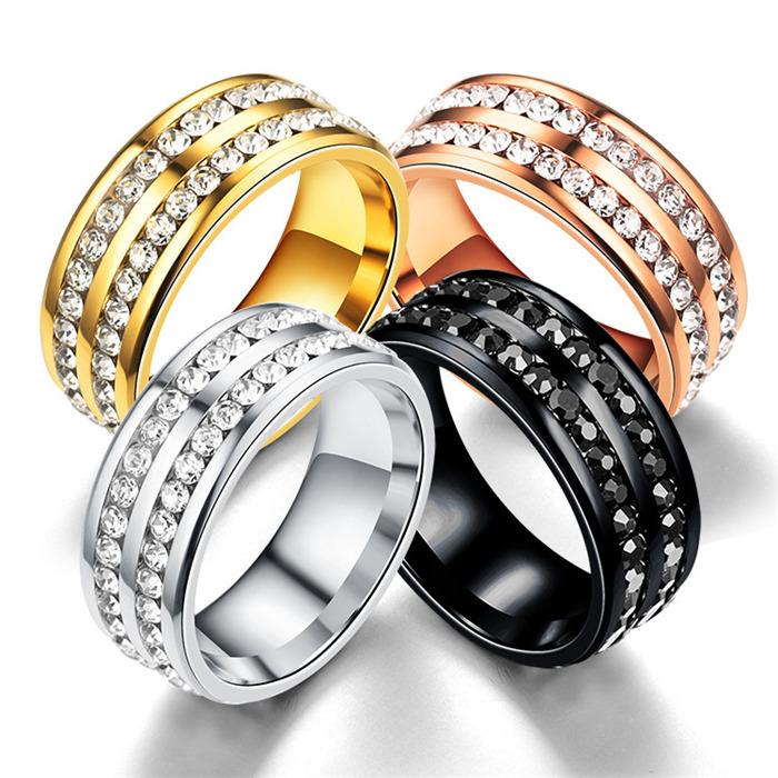 Week of double row diamond ring